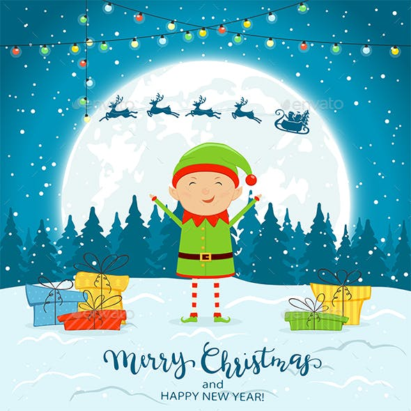 Elf on Winter Background with Gifts