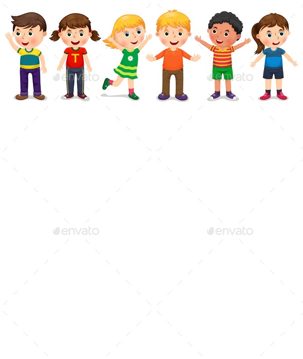Children in Different Positions - People Characters
