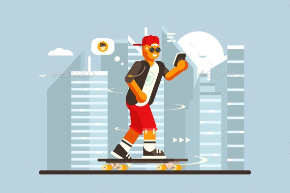 Cartoon Guy Riding on Skateboard Outdoor - People Characters