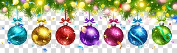 Christmas Colored Balls and Light Effect Isolated - Christmas Seasons/Holidays