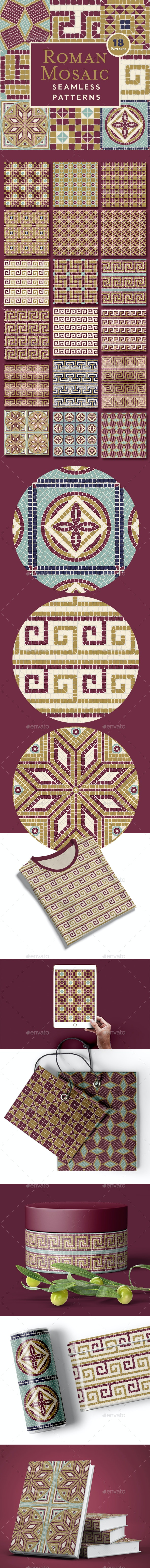 Roman Mosaic Seamless Patterns - Patterns Decorative
