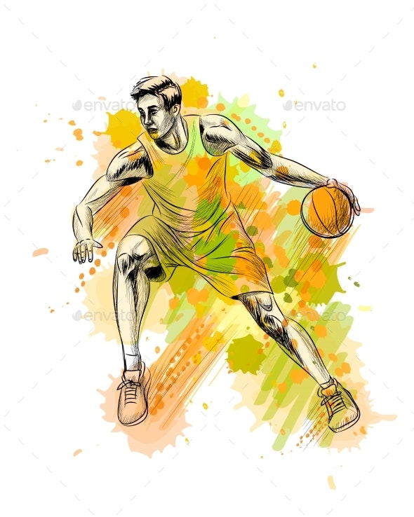 Abstract Basketball Player with Ball From a Splash - Sports/Activity Conceptual