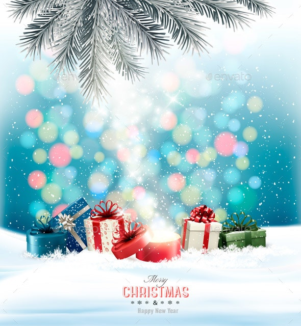 Holiday Background With Colorful Presents and Magic Box. Vector. - Seasons/Holidays Conceptual