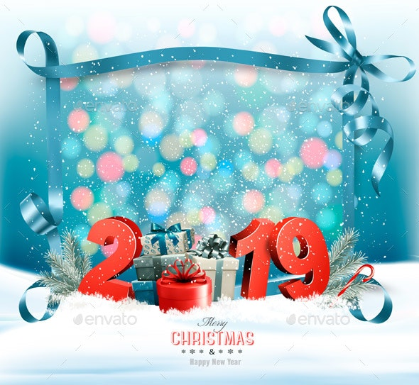 Holiday Christmas Background with a Gift Boxes and a Blue Ribbon. Vector - New Year Seasons/Holidays