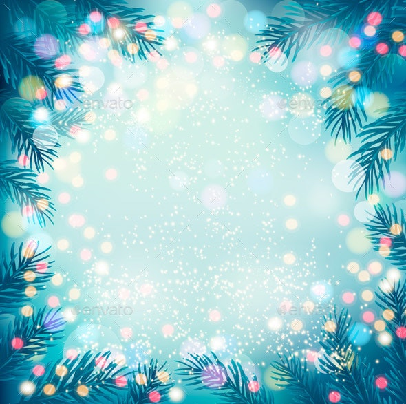 Christmas Tree Backgrounds.Holiday Background With A Christmas Tree And Garland Vector
