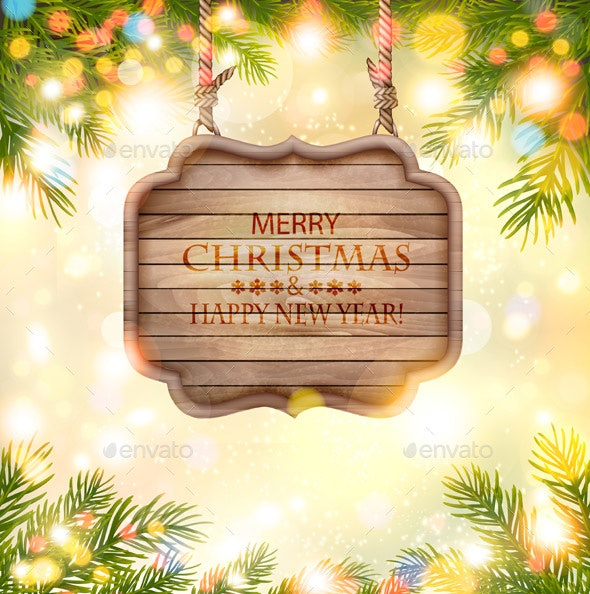 Holiday Background with Christmas Branches of Tree and Wooden Board. Vector - Seasons/Holidays Conceptual