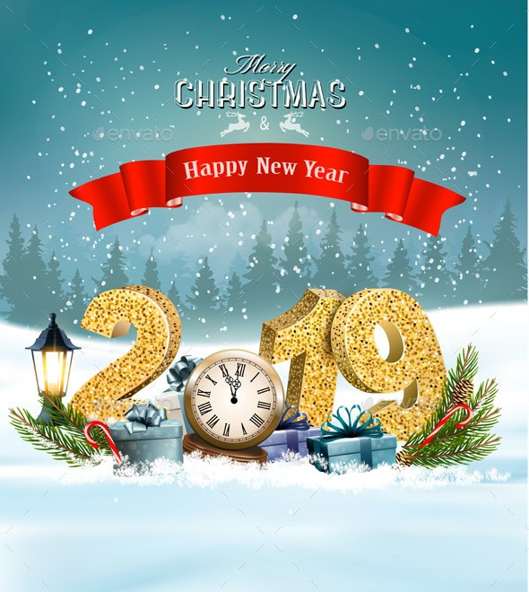 Holiday Christmas Background with Presents and Clock. Vector. - Seasons/Holidays Conceptual