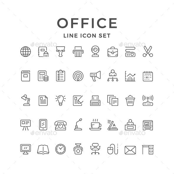 Set Line Icons of Office - Man-made objects Objects