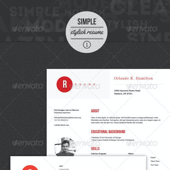 Resumes Template with Simple and Stylish style