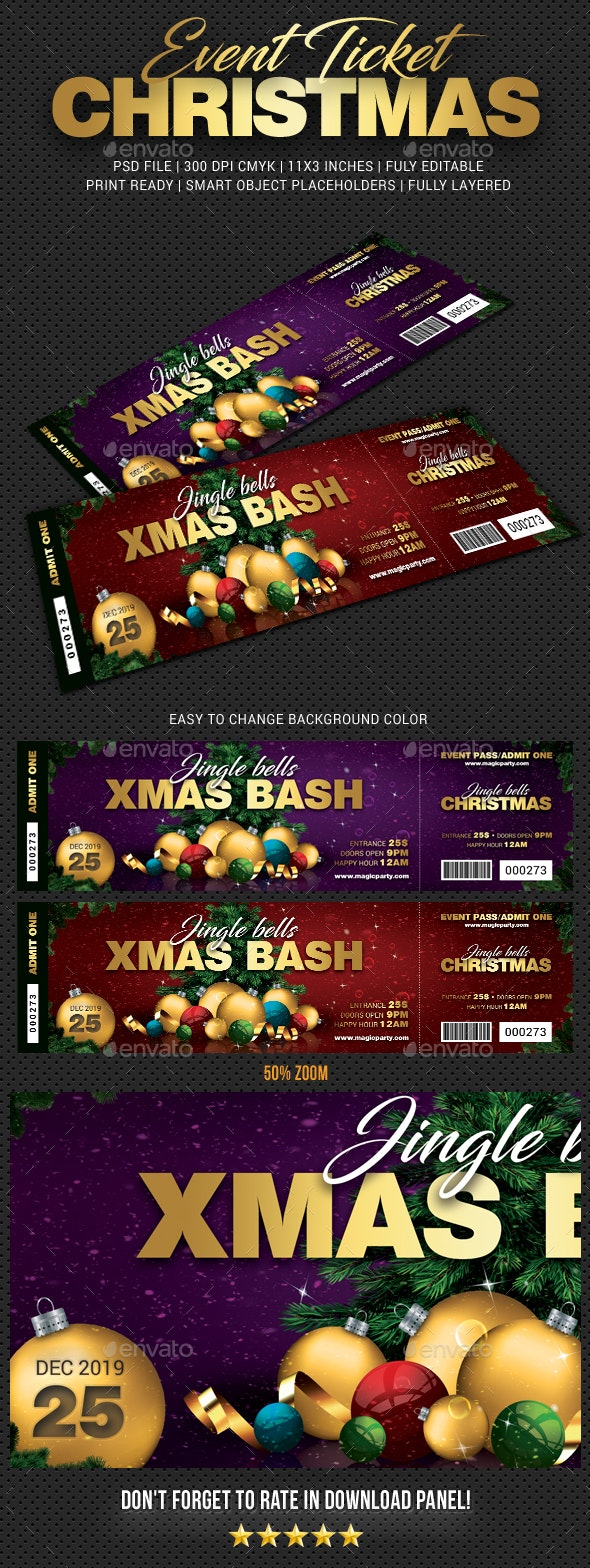 Xmas Bash Party Event Ticket - Cards & Invites Print Templates