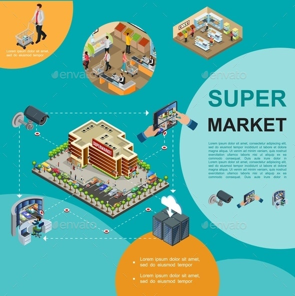 Isometric Modern Supermarket Template - Buildings Objects