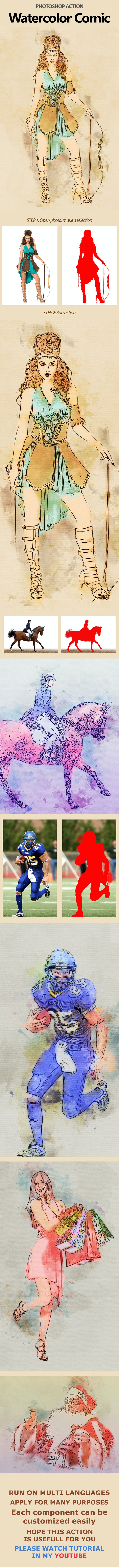 Watercolor Comic - Photo Effects Actions