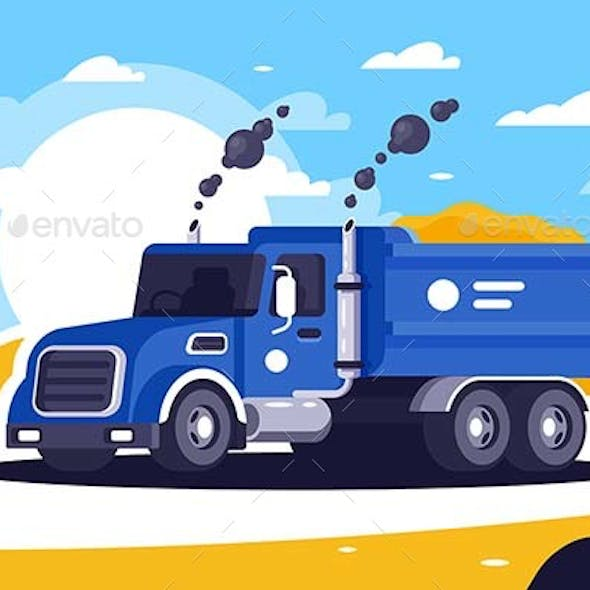 Flat Loaded Dump Truck with Sand