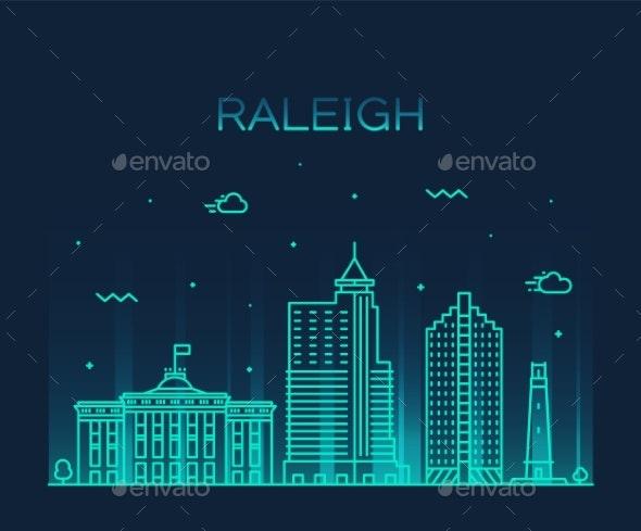 Raleigh Skyline North Carolina USA Vector Linear - Buildings Objects