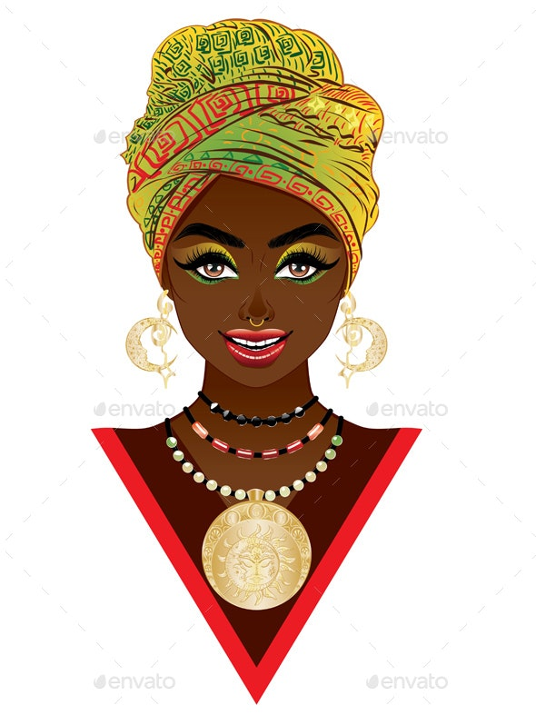 African Woman in Turban - People Characters