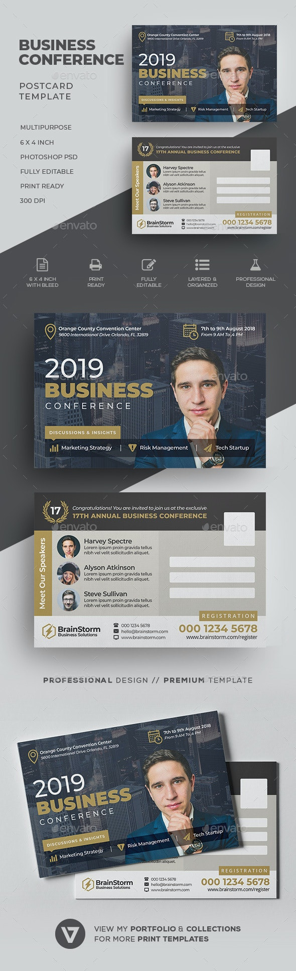 Conference Postcard Template - Cards & Invites Print Templates