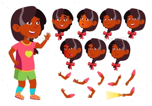 Girl, Child, Kid, Teen Vector. Indian, Hindu - People Characters