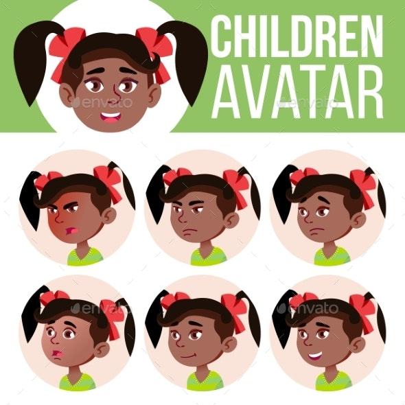 Girl Avatar Set Kid Vector. Kindergarten. Black - People Characters