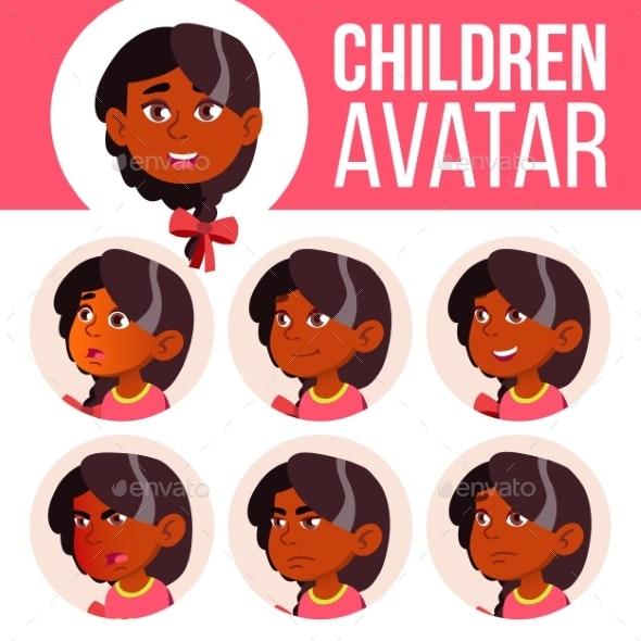 Girl Avatar Set Kid Vector. Kindergarten. Indian - People Characters