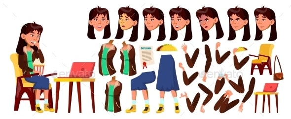 Asian Teen Girl Vector. Animation Creation Set - People Characters