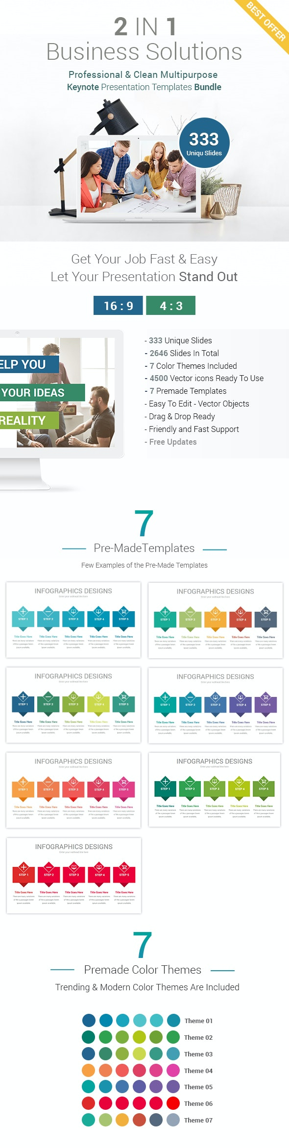 Business Solutions - 2 In 1 Keynote Presentation Template Bundle - Business Keynote Templates