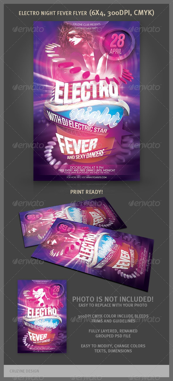 Electro Night Fever Party Flyer - Clubs & Parties Events