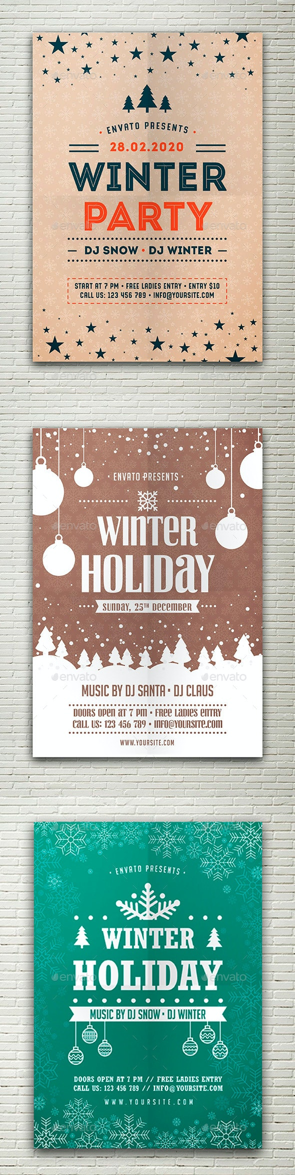 Winter Holiday Flyers Bundle - Holidays Events