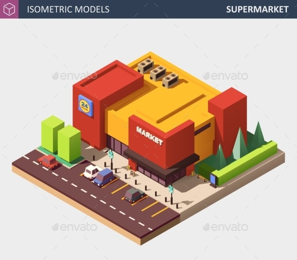Isometric Vector Illustration of a Supermarket - Buildings Objects