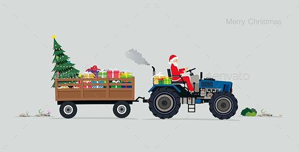 Santa Driving a Tractor - Christmas Seasons/Holidays
