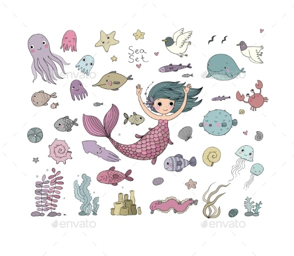 Marine Illustrations Set. Little Cute Cartoon - Animals Characters