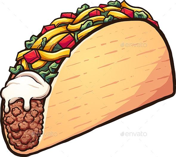Cartoon Taco - Food Objects
