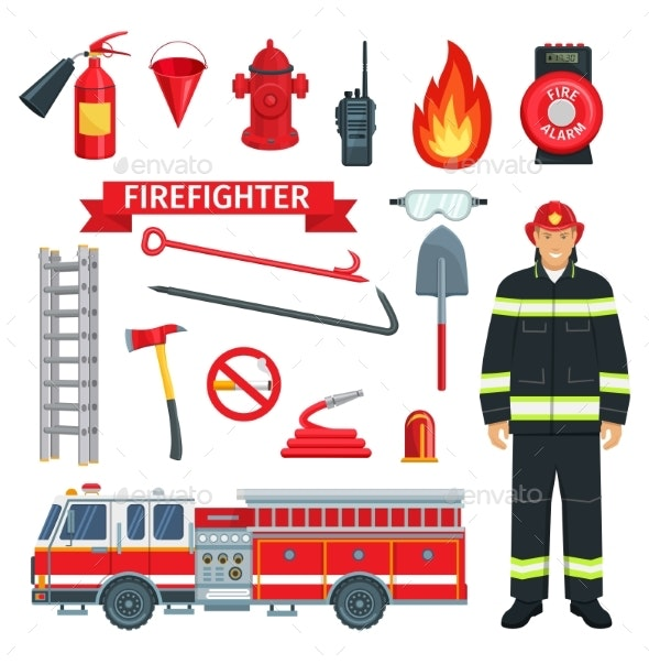 Profession of Fireman or Firefighter Vector Tools - Objects Vectors