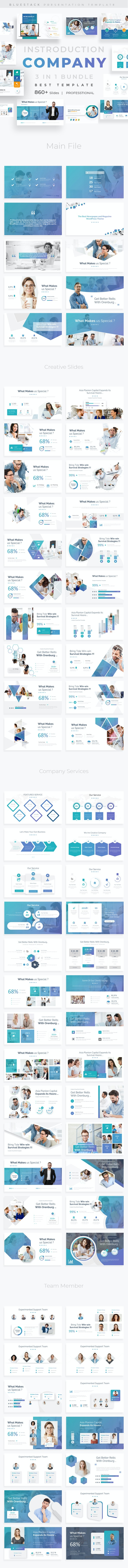 Company Introduction 3 in 1 Pitch Deck Bundle Powerpoint Template - Business PowerPoint Templates