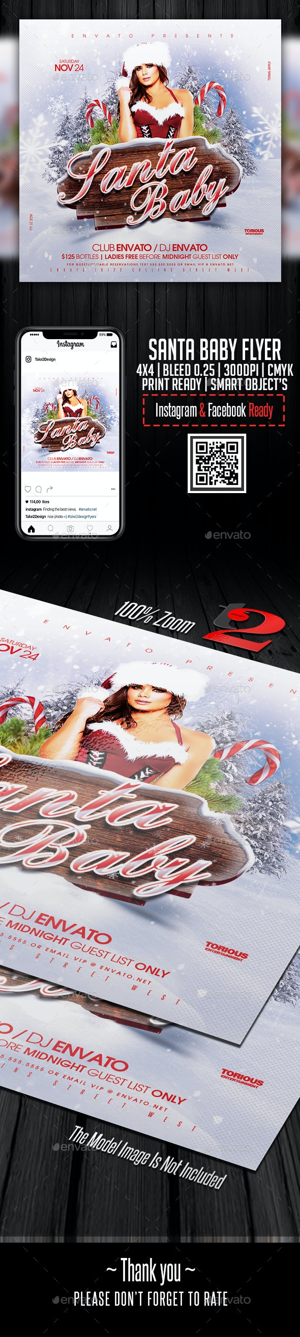 Santa Baby Flyer Template - Clubs & Parties Events
