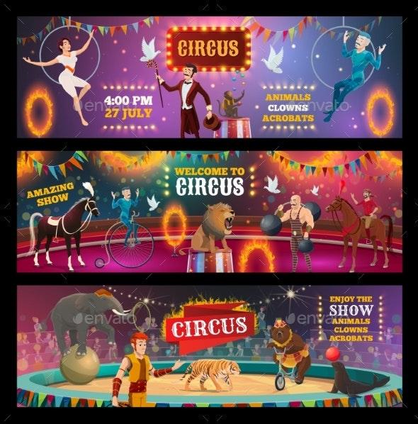 Circus Show Clown, Animals, Magician and Acrobats - Characters Vectors