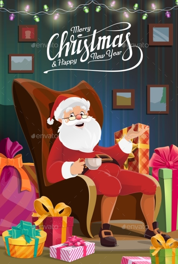 Christmas Santa Sit in Chair, New Year Holiday - Christmas Seasons/Holidays
