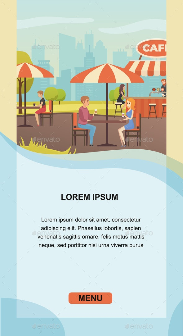 Restaurant with Outdoor Seating Vector Website - People Characters