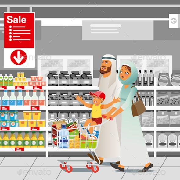 Family Shopping on Sale Cartoon Vector Concept