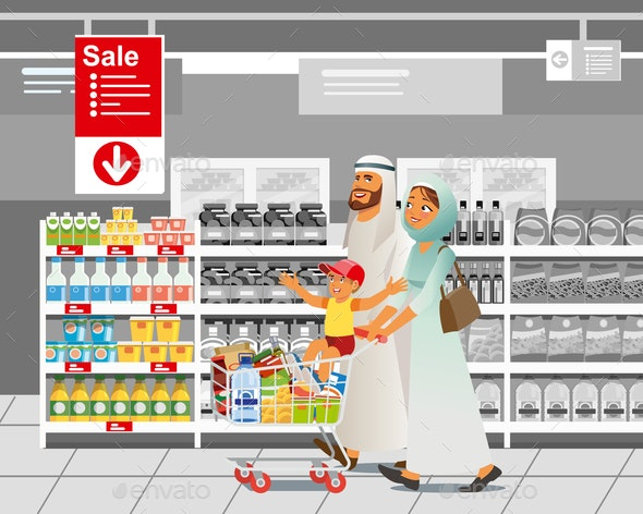 Family Shopping on Sale Cartoon Vector Concept - People Characters