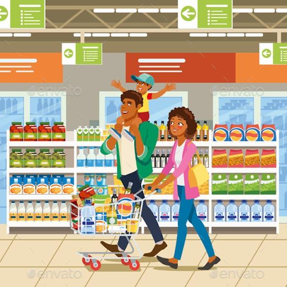Shopping with Family Cartoon Vector Concept