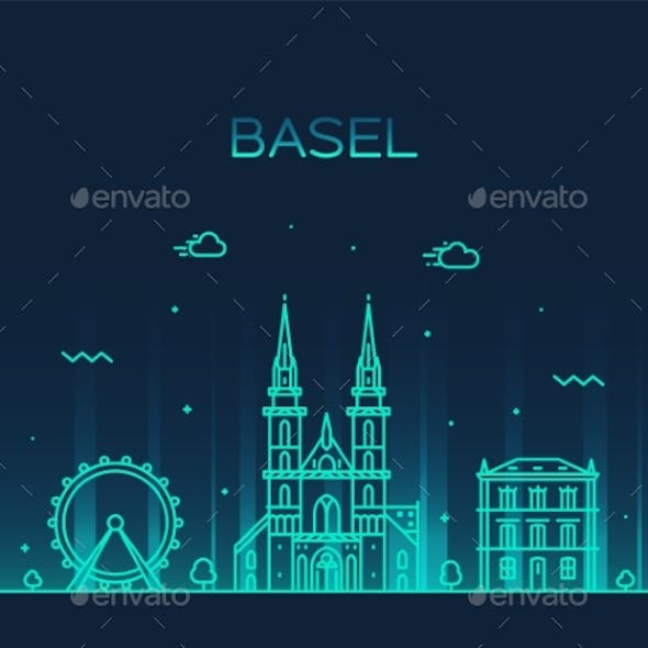 Basel Skyline Switzerland Vector Linear Style City