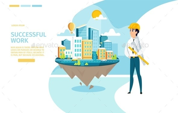 Architect Successful Work Vector Landing Page - Business Conceptual