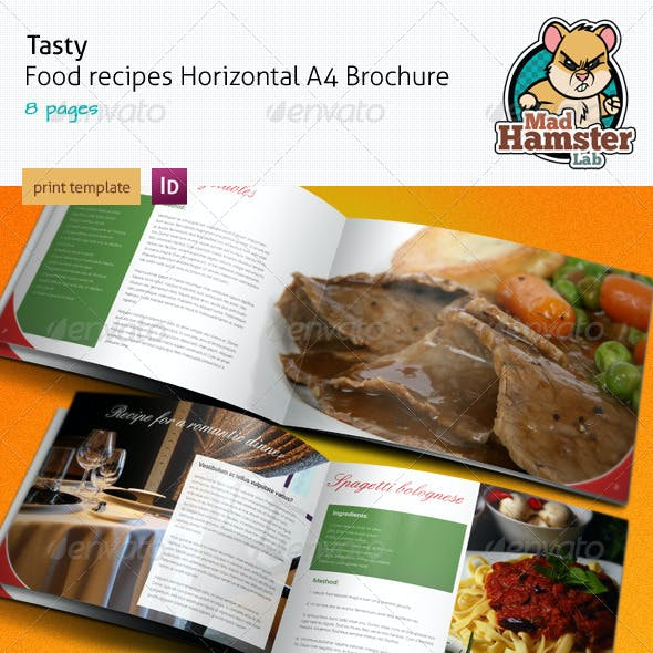 Tasty Food Recipe A4 Horizontal Brochure