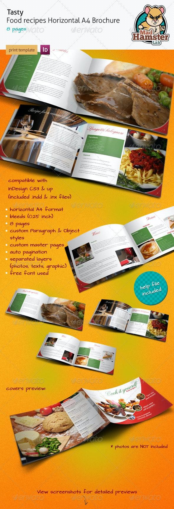 Tasty Food Recipe A4 Horizontal Brochure - Informational Brochures