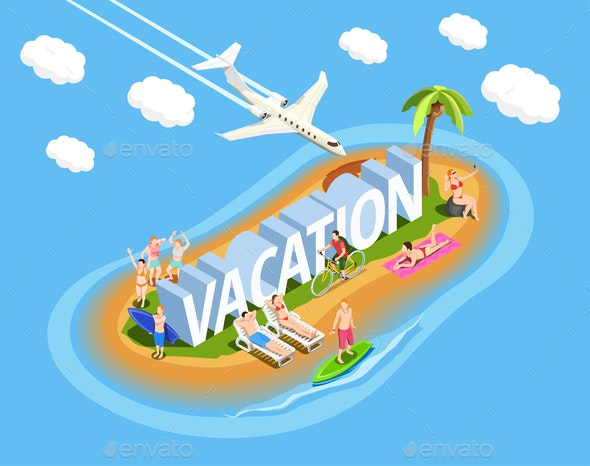 Vacation Isometric Composition - Sports/Activity Conceptual