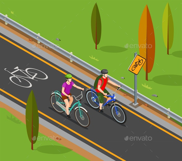 Cycling Tourism Isometric Composition - Sports/Activity Conceptual