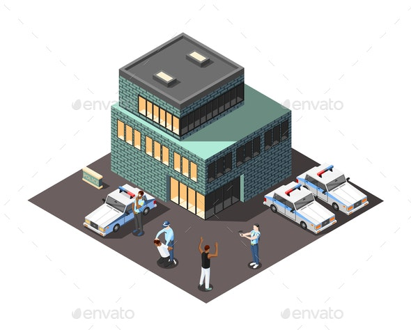 Police Isometric Composition - Miscellaneous Vectors