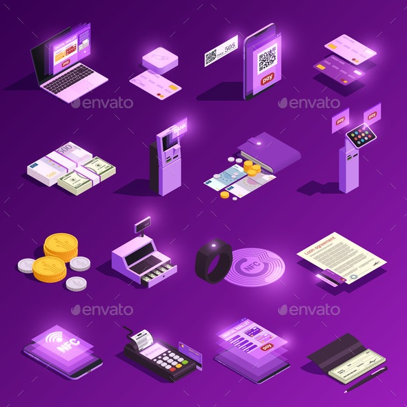 Payment Methods Glowing Isometric Icons - Business Conceptual