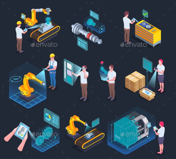 Augmented Reality Isometric Icons - Industries Business