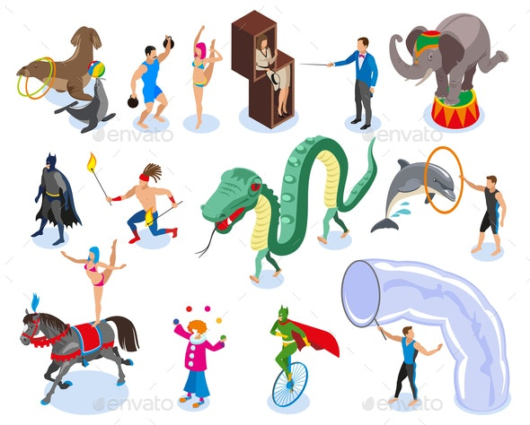 Performers And Entertainment Icons Set - Animals Characters